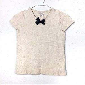 J crew factory beige textured blouse wth black bow